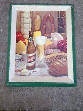 Old 1952 SCHLITZ BEER Food Scene Cardboard Advertising Sign Framed Look Rare Bar
