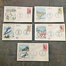 FRANCE FDC Lot 5 Enveloppes Jeux Olympiques d'Hiver Grenoble J.O. 1968 1er Jour