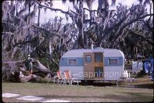 Woman & Her Little Teardrop Trailer in Paradise 1964 Slide Photo Camping Camper