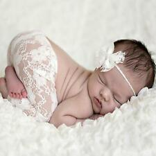 Baby Newborn Infant Girl Bow Hairband Lace Pants Photo Prop Costume Outfit B