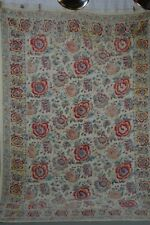 printed paisley style spread throw cotton table cloth 70x106 red blu wh vintage