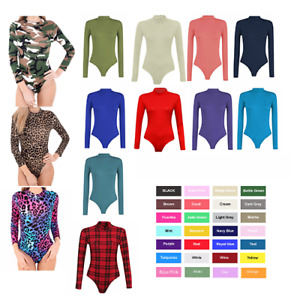 SALE Womens long Sleeve Turtle neck sexy Bodysuit Polo Leotard hot Stretch UK