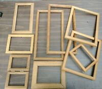 Vintage 9 Wood PICTURE FRAME Lot Recycle Arts Crafts Project Deco paint geo