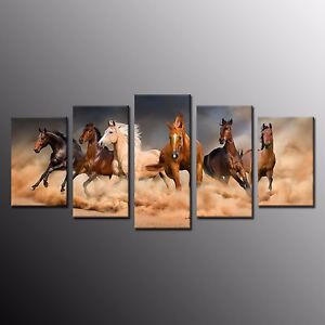 FRAMED Home Decor Canvas Print Oil Painting Wall Art Horse Picture Poster 5pcs