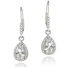 925 Silver 3ct White Topaz & Diamond Teardrop Leverback Earrings