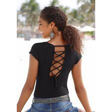 Buffalo London Strandshirt  Damen Shirt Top Schwarz Gr. 36/38 NEU *355183*