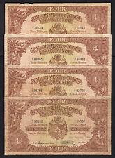 TONGA P-9d.  4 Shillings (1965-66)  Various dates (all diff) x 4 Notes.. aVG-F