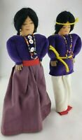 Vintage Native American Handmade Fabric NAVAJO Dolls Velvet Beads Ribbon Beads