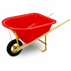 Kinderschubkarre Schiebkarre Schubkarre für Garten Sandkasten und Strand Rot