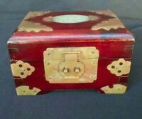 """Vintage Chinese Jade Top Ornate Wooden Jewelry Box- 3 14/ """" Tall x 5 1/4 Wide"""