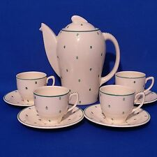 Vintage 1930s SUSIE COOPER Green POLKA DOT - COFFEE SET - POT + 4 CUPS & SAUCERS