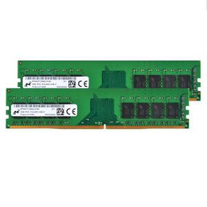 Micron 2PCS 8GB 1RX8 PC4 19200Mhz DDR4 2400T CL17 UDIMM Desktop Memory RAM #S6