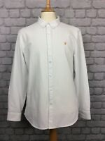 BNWT FARAH MENS UK L BREWER LONG SLEEVE OXFORD SHIRT WHITE SUMMER SLIM FIT