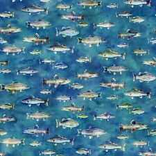 """Hoffman Fabrics Evening Fish Digitally Printed """"Fly Home Quilting Cotton 44"""" SBY"""