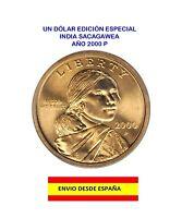MONEDA DE UN DÓLAR AMERICANO AÑO 2000 P INDIA SACAGAWEA DOLAR DE ORO MS-65