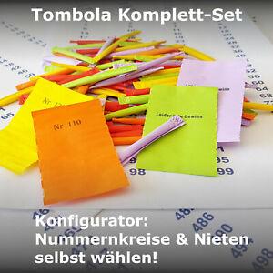 Tombola Lose Gewinnlose Nr 1-100 erweiterbar bis 1000 opt. Nieten + Aufkleber