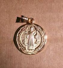 14k Saint Benedict San Benito Gold Plated Chapa de Oro Key Round Charm Pendant