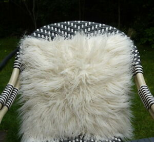 Faux Mongolian Fur Suede Pillow Couch Chair Decorative Pillow White 18 in