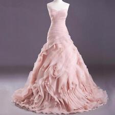 High Quality Real Blush Pink Wedding Dresses 2016 Organza Mermaid Dress