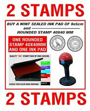 2INK PAD Plastic Rubber Stamp NO Self Inking Logo ROUND Office Service Business