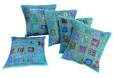 Set Of 5 Indian Handmade 16X16 zari Cotton Hippie Cushion Cover Home Decor New