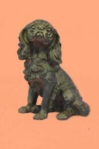 Bronze Dog Sculpture: Sitting Cocker Spaniel by Miguel Lopez Hand Made Figurine