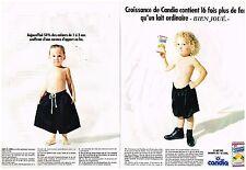 Publicité Advertising 1990 (2 pages) Le lait de Croissance candia