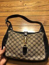 Gucci Jackie 1961 Vintage Hobo Bag Purse Blue HTF Piston Small HTF Monogram GG