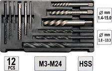 Schraubenausdreher Set-12-tlg  M3 - M24 Linksausdreher Satz HSS Bohrer