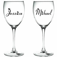 2 x PERSONALISED NAME   WINE GLASS VINYL STICKERS / DECAL (a)