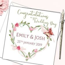 Personalised Wedding Day Congratulations Good Luck Card Floral glitter butterfly