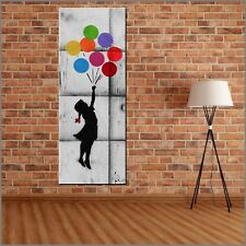Banksy Respray Flying Balloons Up Up and Away Urban Pop Art Painting 160cmx60cm