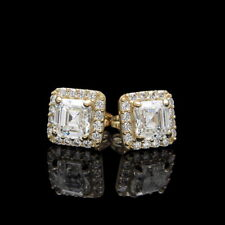 1.58tcw Halo Asscher Round Created Diamond Earrings 14K Yellow Gold Square Studs