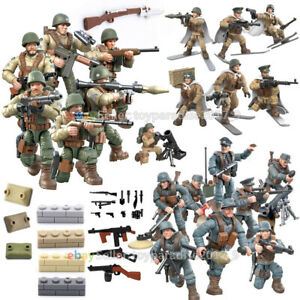 WW2 WWII Military Soldiers Army US USSR Weapon Fit Lego Minifigures Mega Bloks