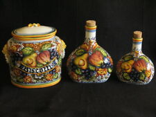 ARTISTICA HAND PAINTED IN ITALY 3 PIECES COOKIE JAR & 2 BOTTLES