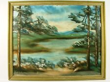 HAND CREATED AND FRAMED EARLY LAST CENTURY LAKE AND MOUNTAIN SCENE CA.