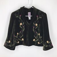 Zelda Velvet Embroidered Beaded Jacket Size 12 Green Cosplay Victorian Steampunk