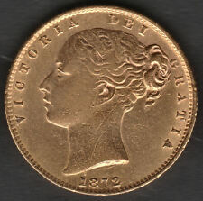 More details for  1872 london queen victoria shield back full 22ct gold sovereign coin 1b die 7