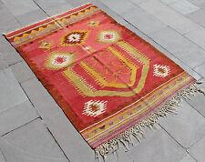 Turkish Kilim Rug 39''x57'&# 039; Hand Woven Konya Kilim 100x147cm