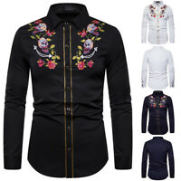 Embroidered Western Rockabilly Shirt Floral Dancing Men Cowboy Dress Skull
