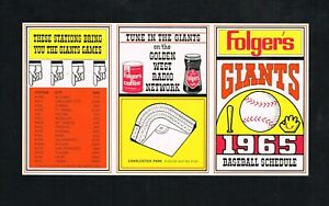 1965 San Francisco Giants Folger's Coffee Unfolded Baseball Pocket Schedule