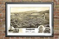 Old Map of Hamburg, PA from 1889 - Vintage Pennsylvania Art, Historic Decor