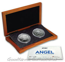 *2016 Isle of Man PROOF & REVERSE Silver Angel 2-Coin Set - LIMITED TO ONLY 500*