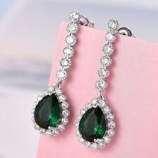Elegant Ladies Teardrop Green Emerald CZ Crystal Fashion Wedding Dangle Earrings