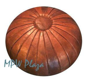 MPW Plaza Pouf, Deco, Brown, Moroccan Leather Ottoman (Un-Stuffed)