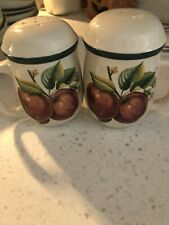 China Pearl Casuals Salt & Pepper Shakers-Apple Pattern-Stoneware-