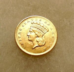 1856 $1 Gold Liberty Head (Ty-3) - Upright 5 -Sharp looking Coin - FREE SHIPPING