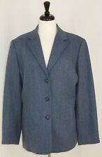 Talbots Jacket 18 Blazer Womens Blue Wool Classic Career 3 Button Notch Collar