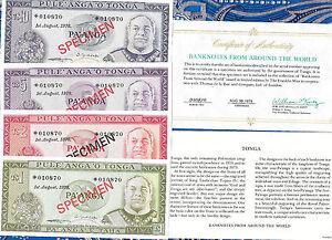 TONGA  COMPLETE 4 SPECIMEN SET 1978 w/COA  010870 CS1 P 19 - 22 UNC COA