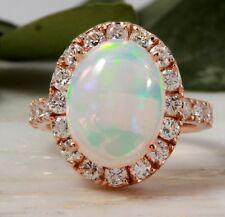 6.00Ct Natural Ethiopian Opal and Diamond 14K Solid Rose Gold Ring